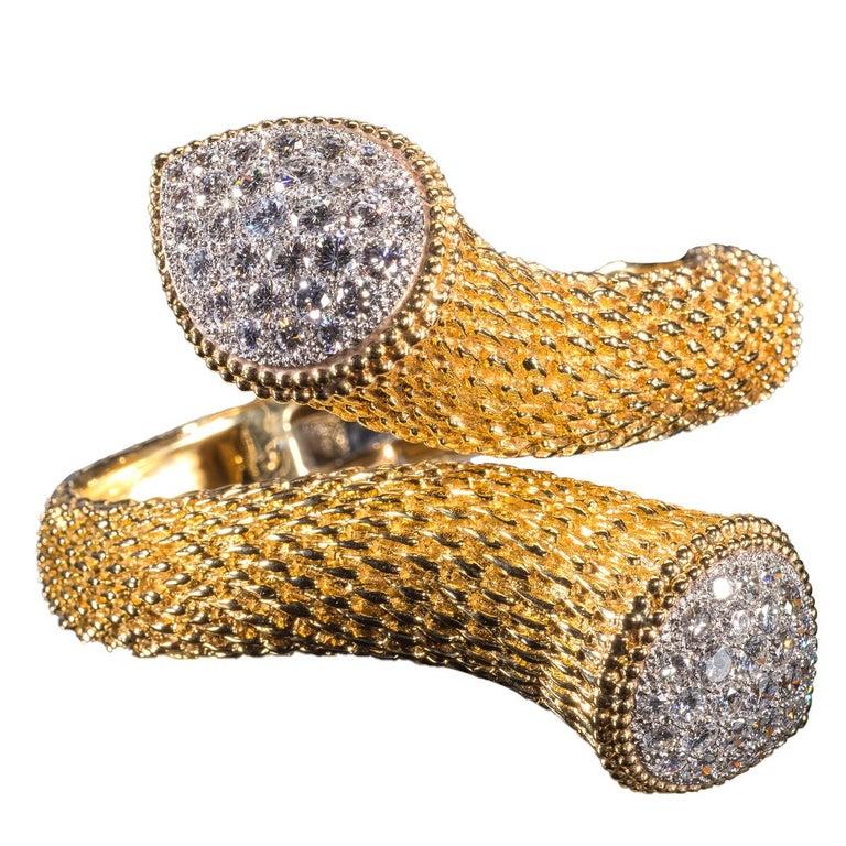 Women's or Men's Boucheron Gold Bracelet with Diamond Set Terminals For Sale