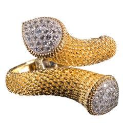 Boucheron Gold Bracelet with Diamond Set Terminals