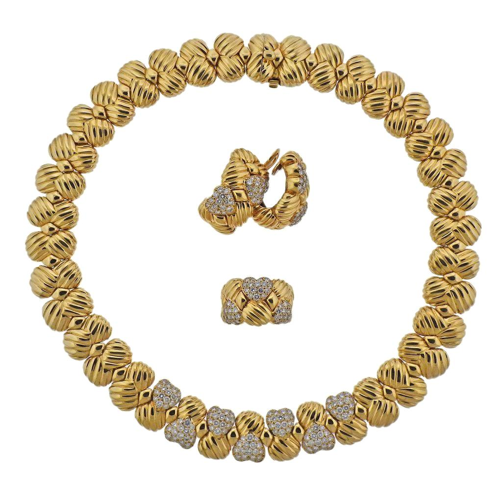 Boucheron Gold Diamond Necklace Earrings Ring Suite