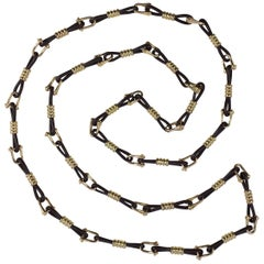 Boucheron Gold Leather 'Nautilus' Necklace