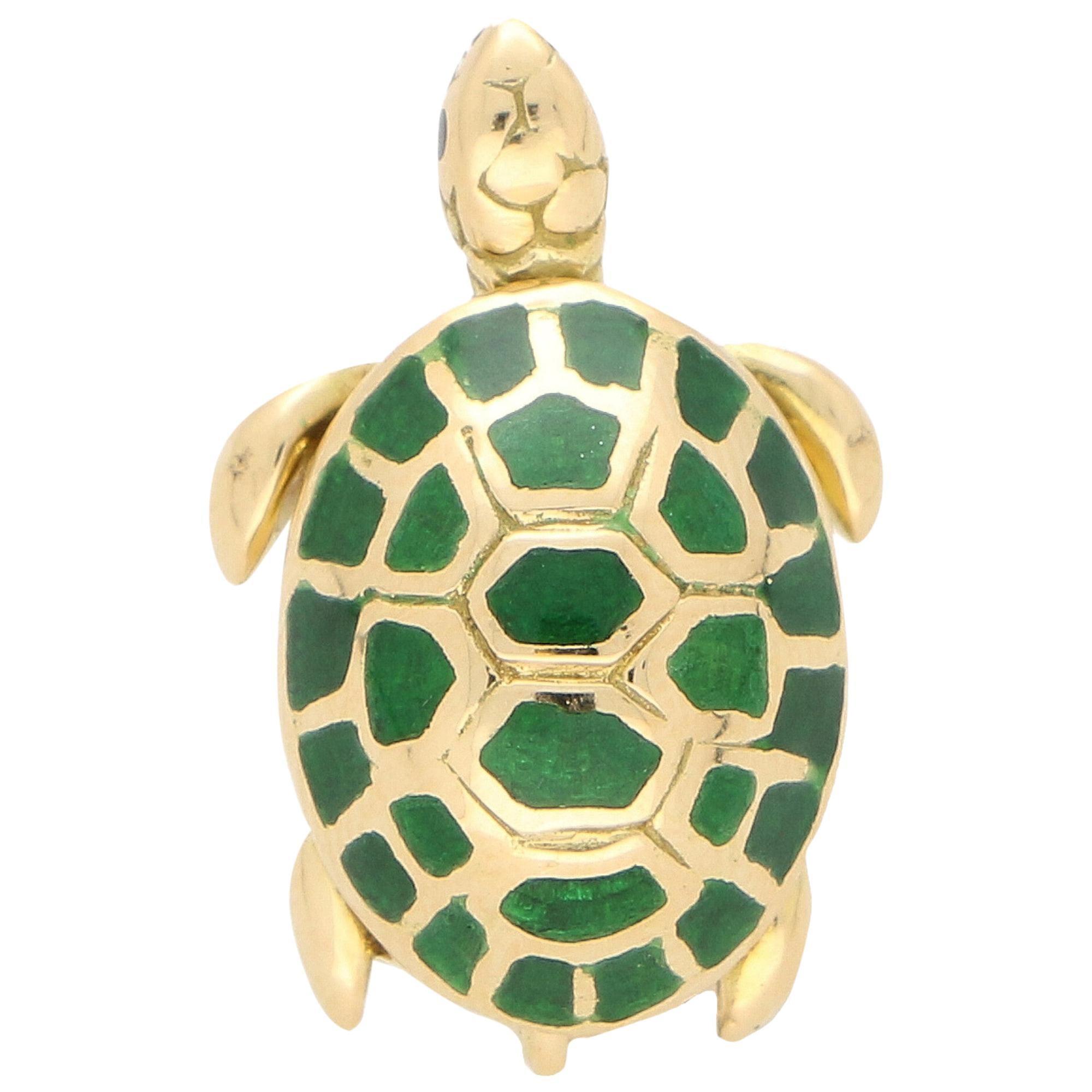 Boucheron Green Enamel Turtle Pin / Brooch Set in 18 Karat Yellow Gold