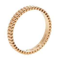 Boucheron Grosgrain 18K Rose Gold Wedding Band Ring Size 56