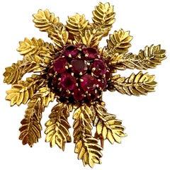 "Boucheron ""He Loves You"" Brooch, 18 Karat Gold, Ruby's 19x, Paris, circa 1975"