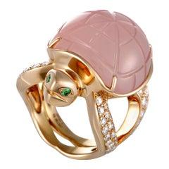 Boucheron Honu Diamond, Quartz and Emerald Rose Gold Turtle Ring