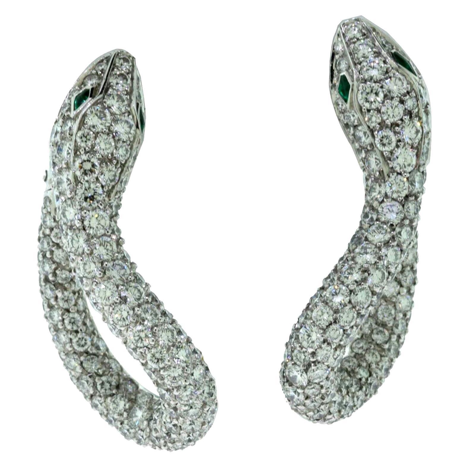 Boucheron Kaa Snake Emerald and Diamond Cocktail Clip-On White Gold Earrings