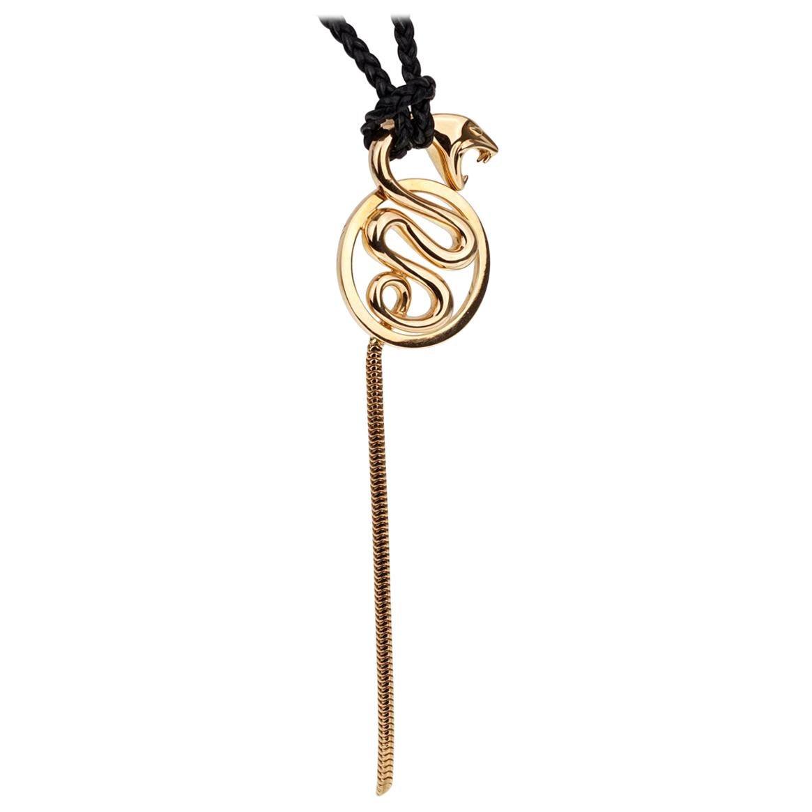 Boucheron Kaa Yellow Gold Snake Braided Leather Necklace