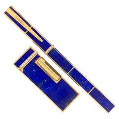 Boucheron Lapis Diamond Pen and Lighter in 18 Karat Yellow Gold, circa 1980