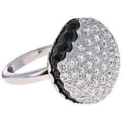 Boucheron Large 18 Karat White Gold Macaron Black Sapphire Diamond Ring