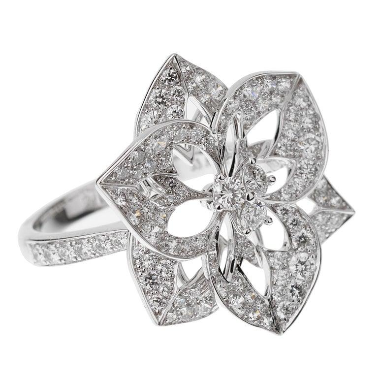 Round Cut Boucheron Large Flower Diamond White Gold Cocktail Ring
