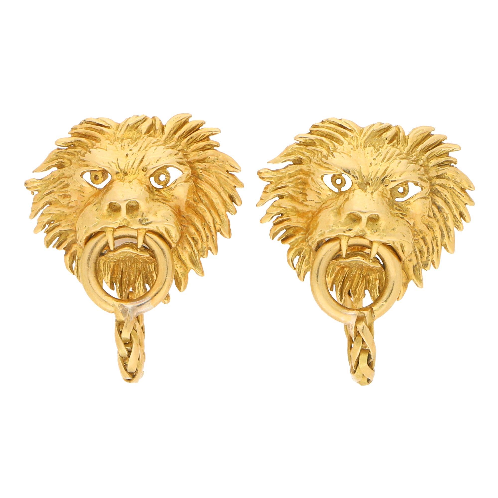 Boucheron Lion Door Knocker Cufflinks in 18 Carat Yellow Gold