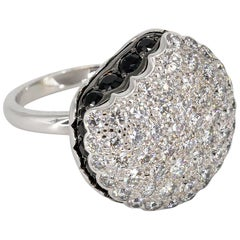Boucheron Macaron Black and White Diamond 18 Karat White Gold Ring