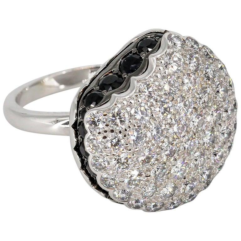 Boucheron Macaron Black White Diamonds Ring For Sale