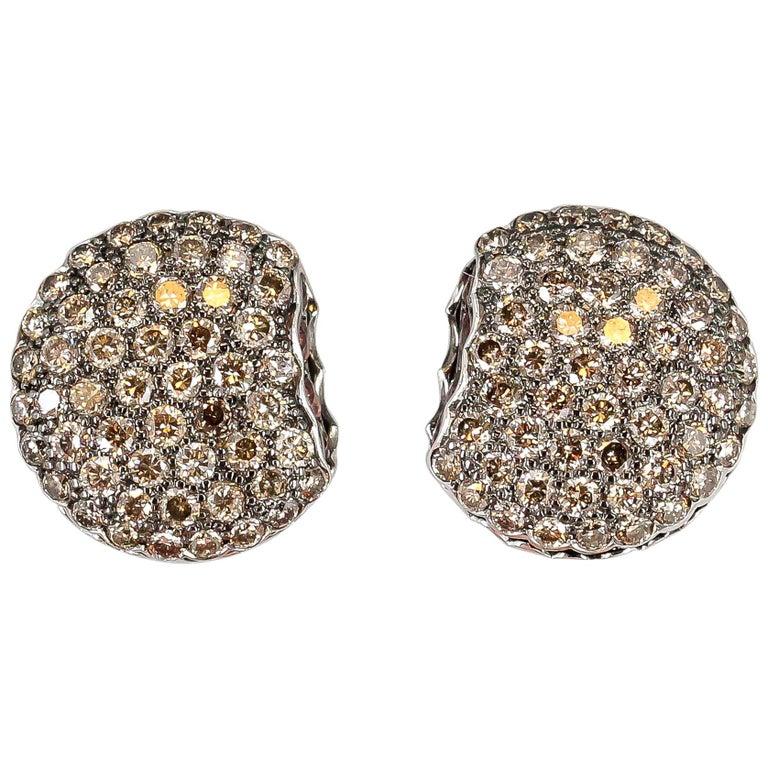 Boucheron Macaron Chocolate Diamond White Gold Stud Earrings
