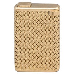Boucheron Midcentury 18 Karat Gold Basket Weave Lighter