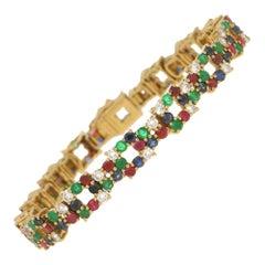 Boucheron Multi Gem Set Bracelet in 18 Carat Yellow Gold