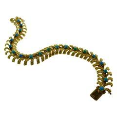 Boucheron Paris 18k Yellow Gold and Turquoise Bracelet Vintage C. 1960s with Box