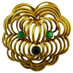 Boucheron Paris 18k Yellow Gold, Cabochon Emerald & Onyx Dog Clip Brooch Vintage