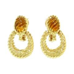 Boucheron Paris 18k Yellow Gold & Carved Citrine Door Knocker Earrings Vintage