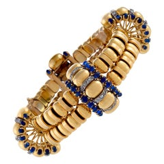 Boucheron Paris 1930s Retro Blue Sapphire Diamond Gold Bracelet