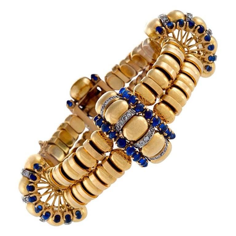 Boucheron Paris 1930s Retro Blue Sapphire Diamond Gold Bracelet For Sale