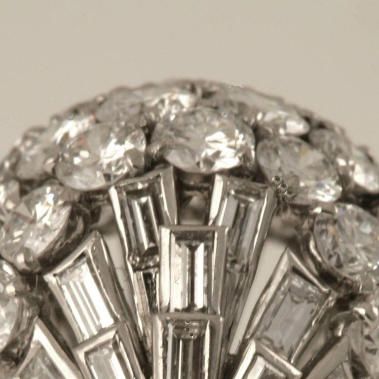 Baguette Cut Boucheron Paris 1950's Diamond Gold and Platinum Bombé Ring For Sale