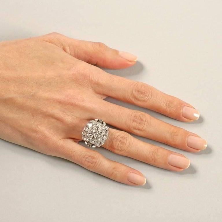 Boucheron Paris 1950's Diamond Gold and Platinum Bombé Ring For Sale 3