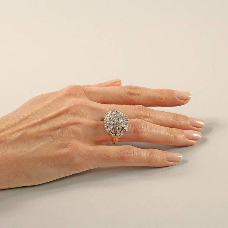 Boucheron Paris 1950's Diamond Gold and Platinum Bombé Ring For Sale 4
