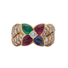 Boucheron, Paris 1960s Ruby, Sapphire Emerald with Diamonds Gold Band Style Band