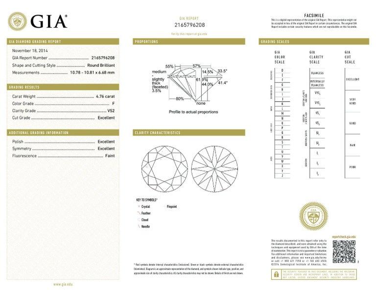 Boucheron Paris 4.76 Carat GIA Certified Round Brilliant Engagement Ring 5