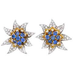 Boucheron Paris 5.52 Carat Diamond Sapphire Platinum 18 Gold Flower Earrings