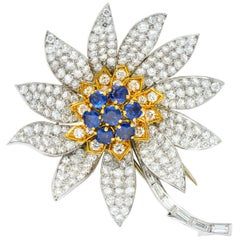 Boucheron Paris 8.60 Carat Diamond Sapphire Platinum 18 Karat Gold Flower Brooch