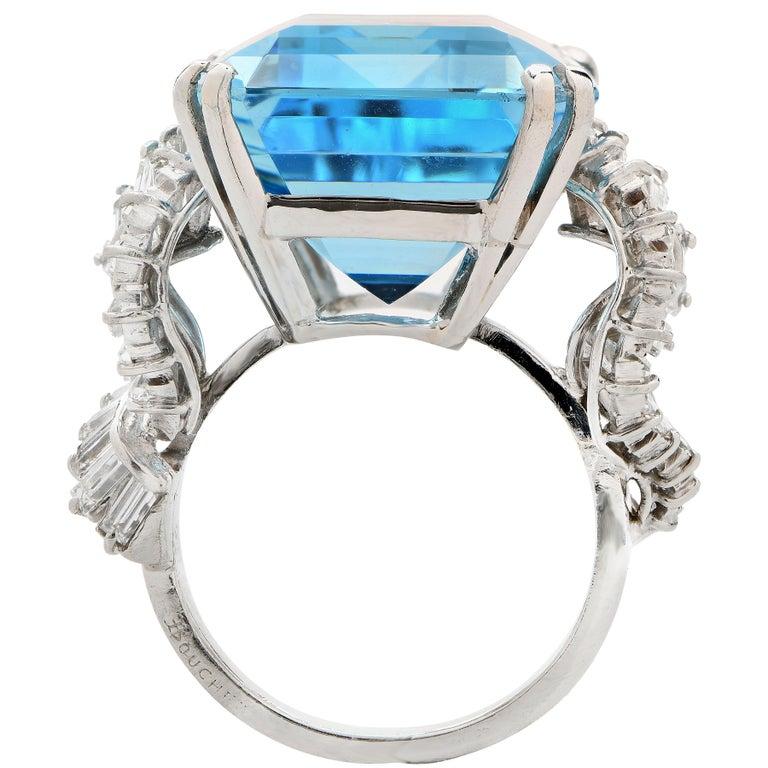 Emerald Cut Boucheron Paris 34.42 Carat Aquamarine and Diamond  Platinum Ring For Sale