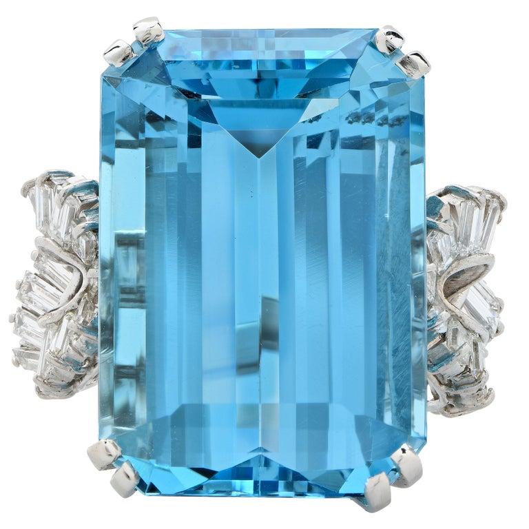 Boucheron Paris 34.42 Carat Aquamarine and Diamond  Platinum Ring For Sale