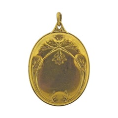 Boucheron Paris Art Nouveau Gold Diamond Locket Pendant