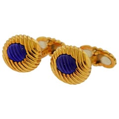 Boucheron Paris Carved Lapis Gold Cufflinks