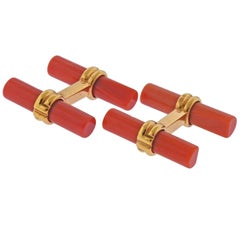 Boucheron Paris Coral Gold Bar Cufflinks