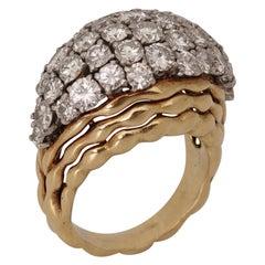 Boucheron, Paris, Diamond and 18k Gold Wave Ring, circa 1970