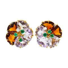 Boucheron Paris Diamond Emerald Citrine Amethyst 18 Karat Gold Flower Earrings