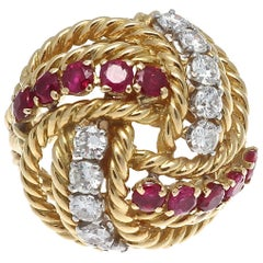 Boucheron Paris Diamond Ruby Gold Ring