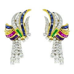 Boucheron, Paris Diamond, Ruby, Sapphire and Emerald Drop Earrings