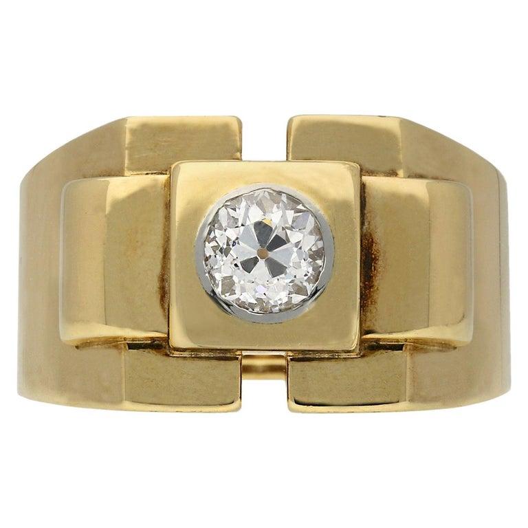 Boucheron Paris Diamond Solitaire Dress Ring, French, circa 1940 For Sale