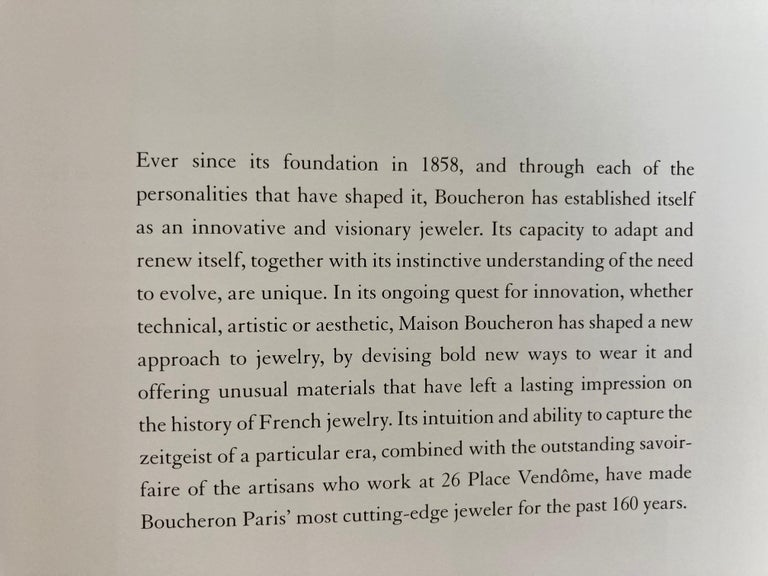 20th Century Boucheron Paris First Art Jeweler of the Place Vendome Hardcover Book For Sale