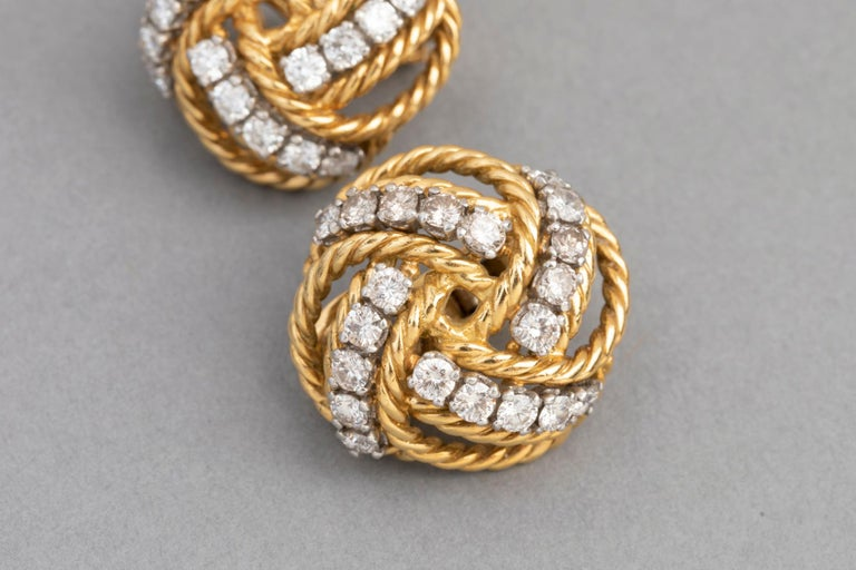Women's Boucheron Paris Gold and Diamonds Clip Earrings For Sale