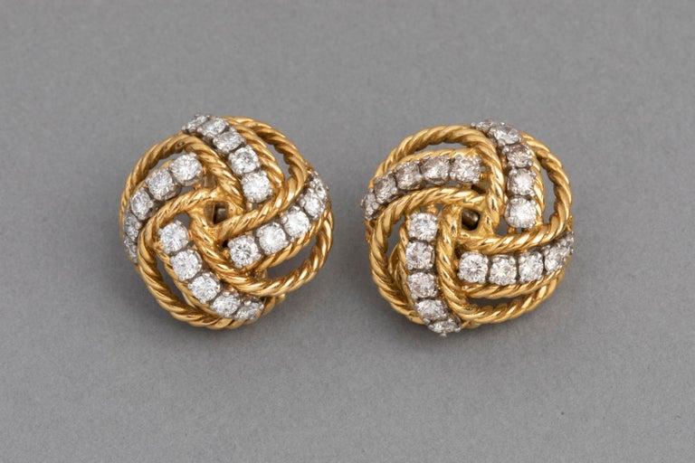 Boucheron Paris Gold and Diamonds Clip Earrings For Sale 1