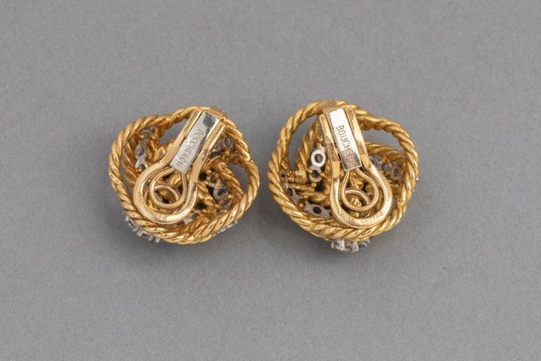 Boucheron Paris Gold and Diamonds Clip Earrings For Sale 2