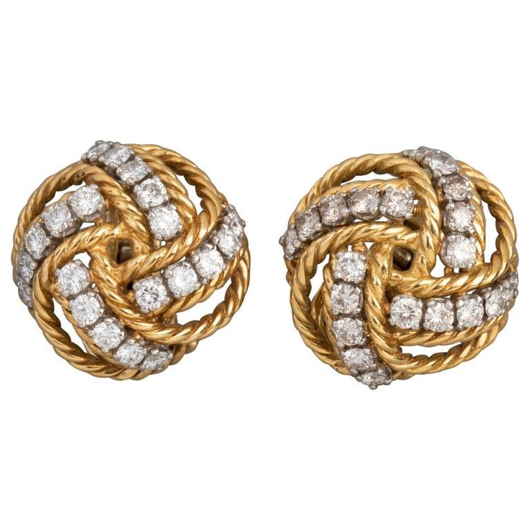 Boucheron Paris Gold and Diamonds Clip Earrings For Sale