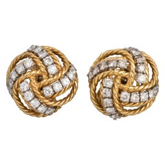 Boucheron Paris Gold and Diamonds Clip Earrings