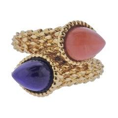 Boucheron Paris Lapis Coral Serpent Gold Ring