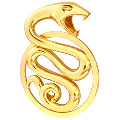 Boucheron Paris Large Yellow Gold Serpent Pendant