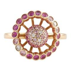 "Boucheron Paris ""Ma Jolie"" Pink Sapphires Diamonds 18 Karat Rose Gold Ring"
